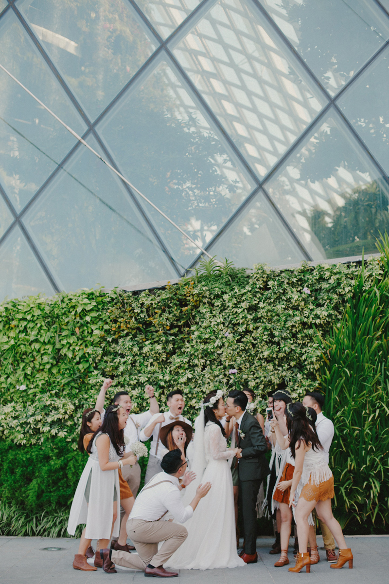 kaleidoscope flower field hall wedding at gardens by the bay