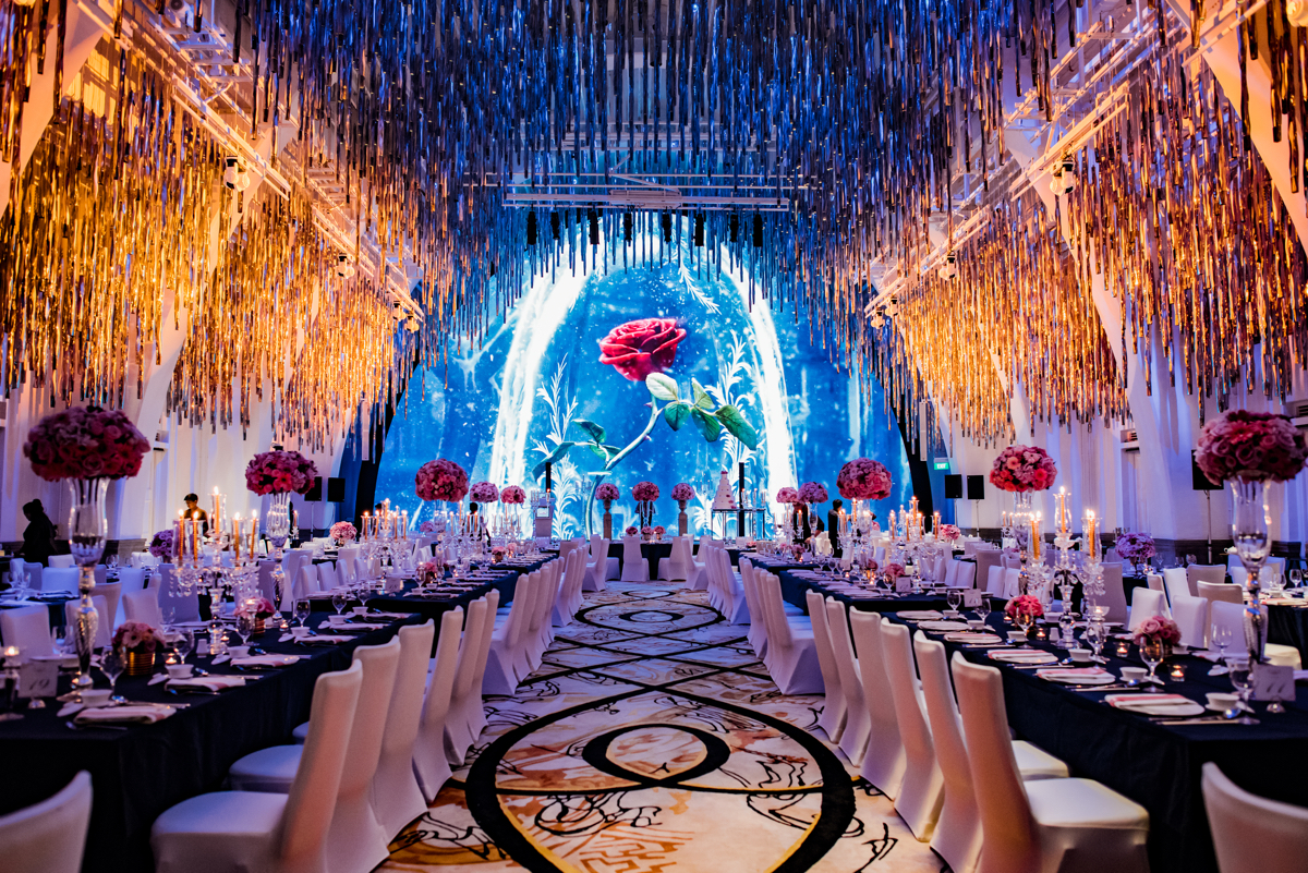 a beauty and the beast inspired wedding at jw marriott singapore south beach. Black Bedroom Furniture Sets. Home Design Ideas