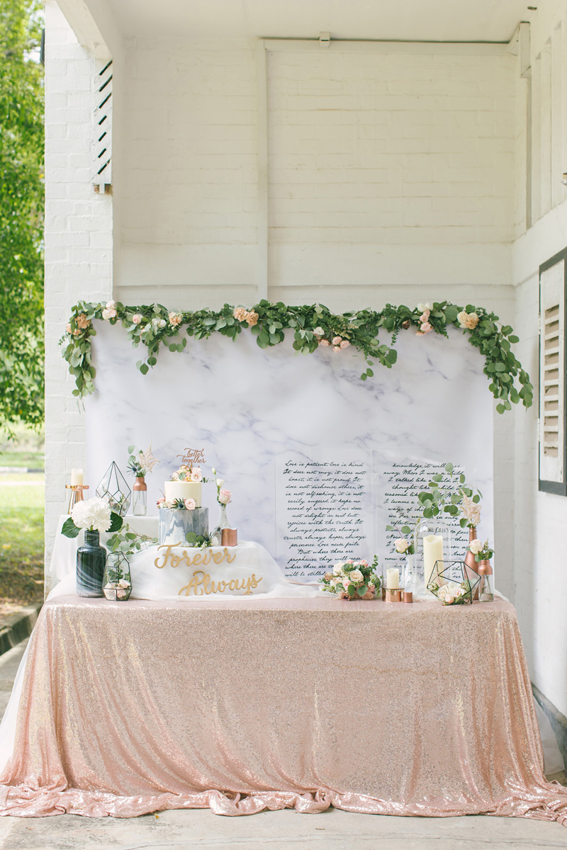 Wedding in a suitcase diy wedding decor styled shoot geometric terrariums geometric stands artificial floral garlands and stalks led candles and loose satin cloths to complete the dcor junglespirit Images