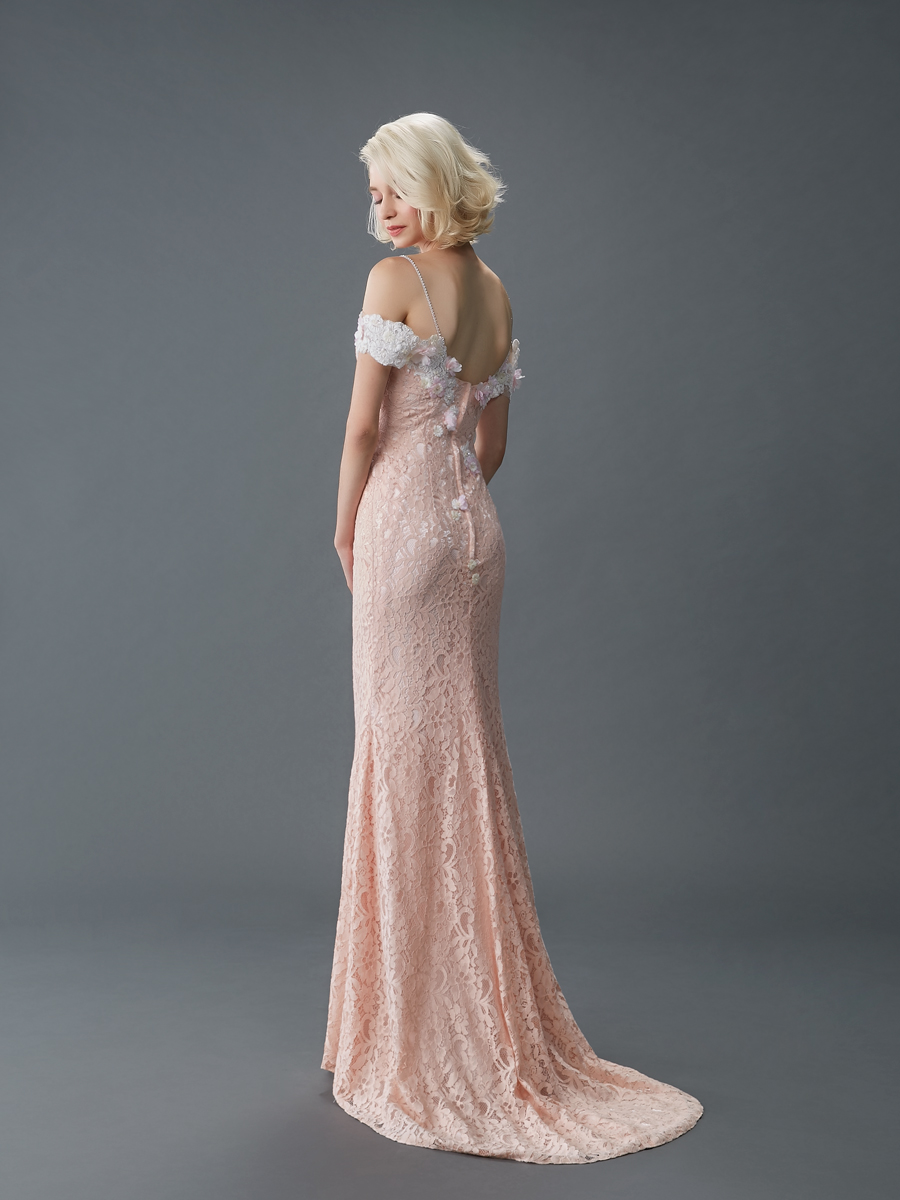 Jawn gown4 pink sheath offshoulder lace b