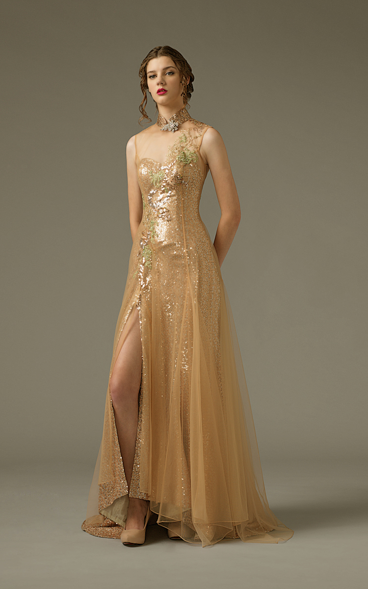 Jawn gown6 champagne sheath highneck sequin f