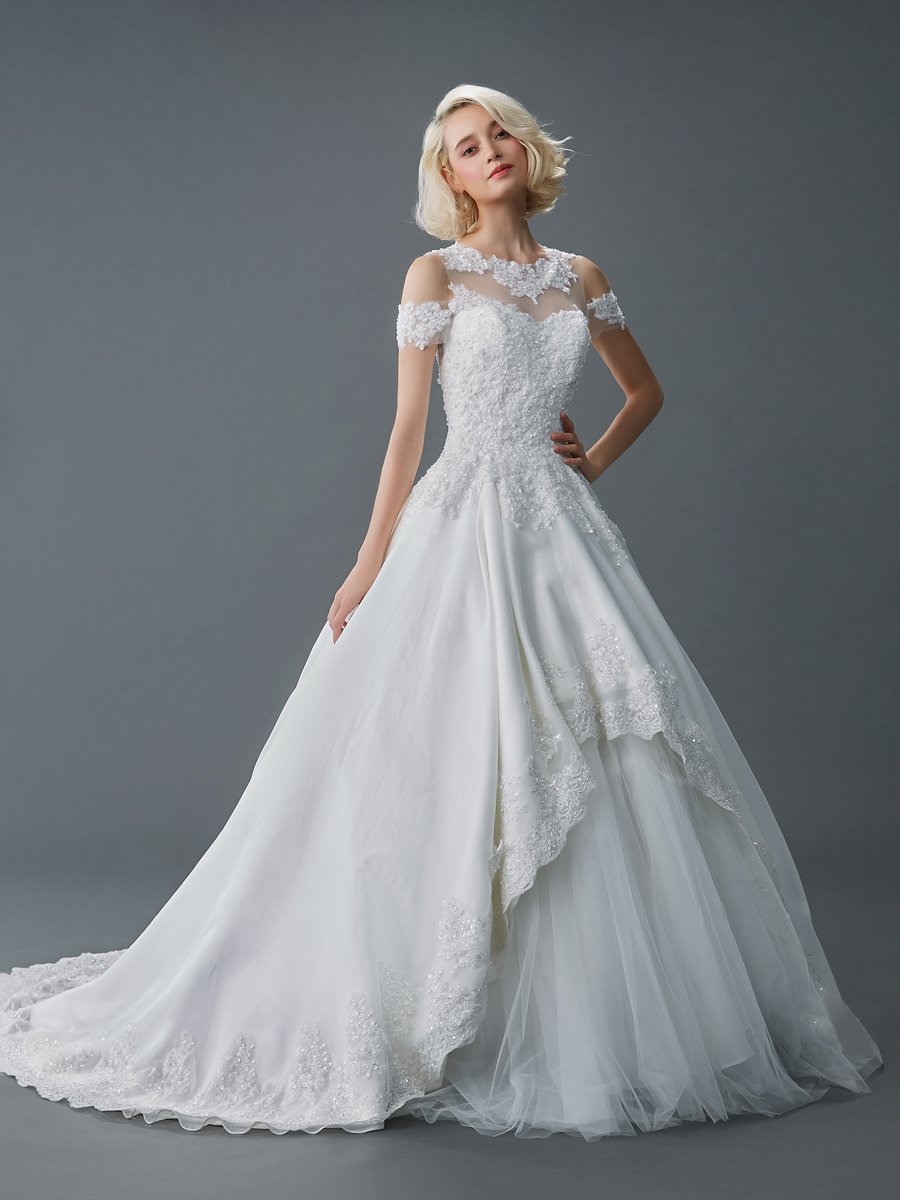 Sil gown6 white ball sweetheart lace f