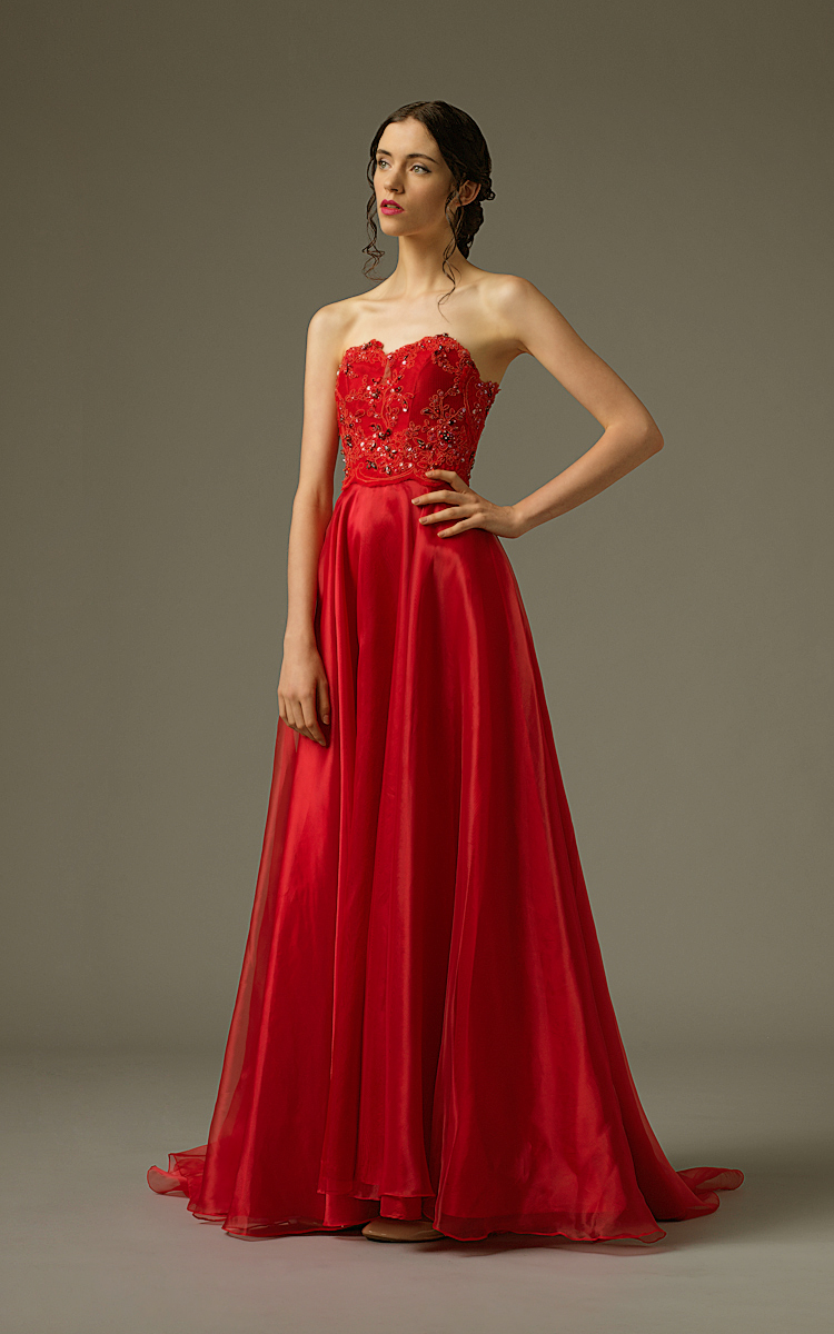 Am gown4 red aline sweetheart organza f