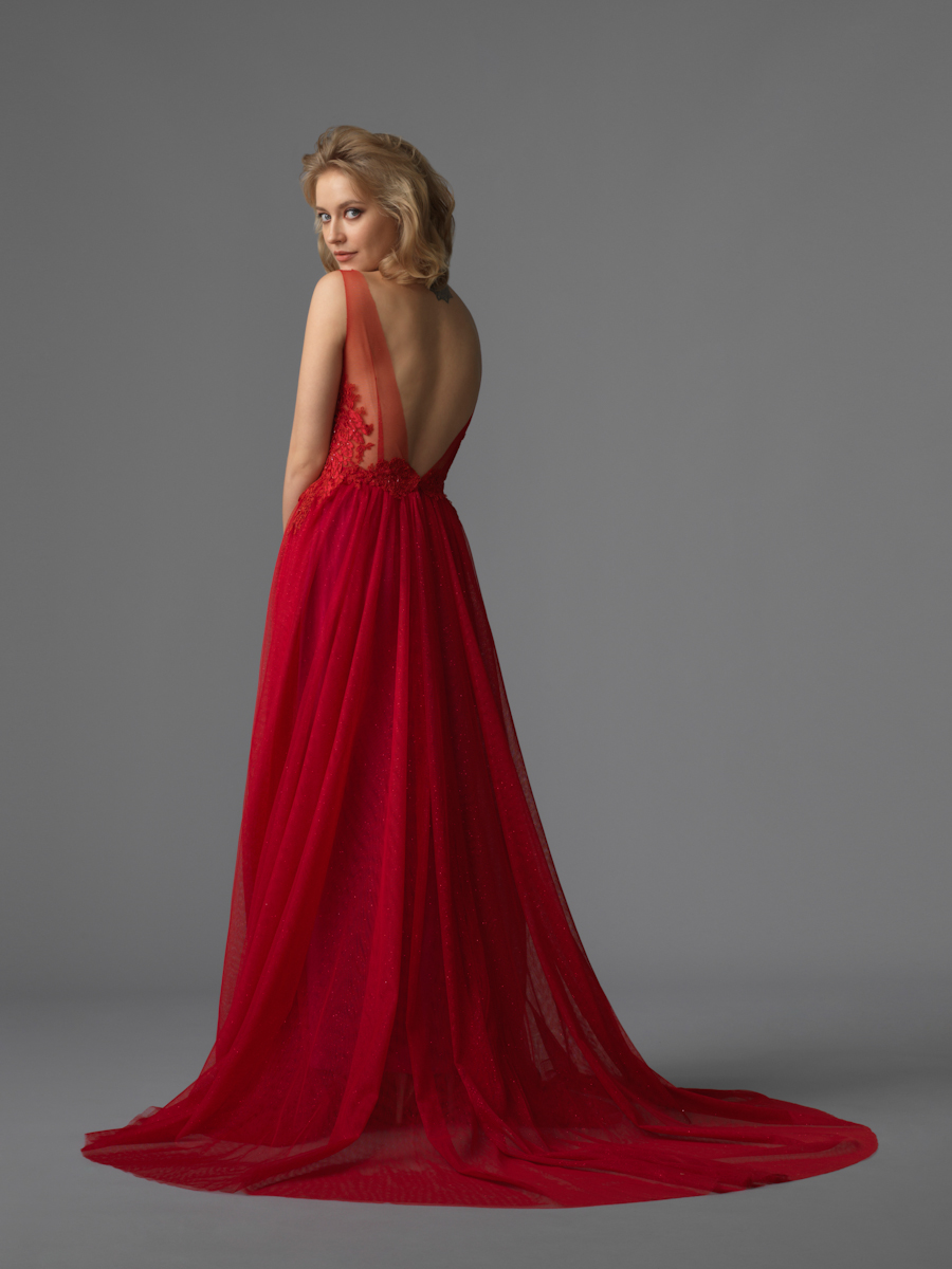 Am gown4 red aline ill lace b
