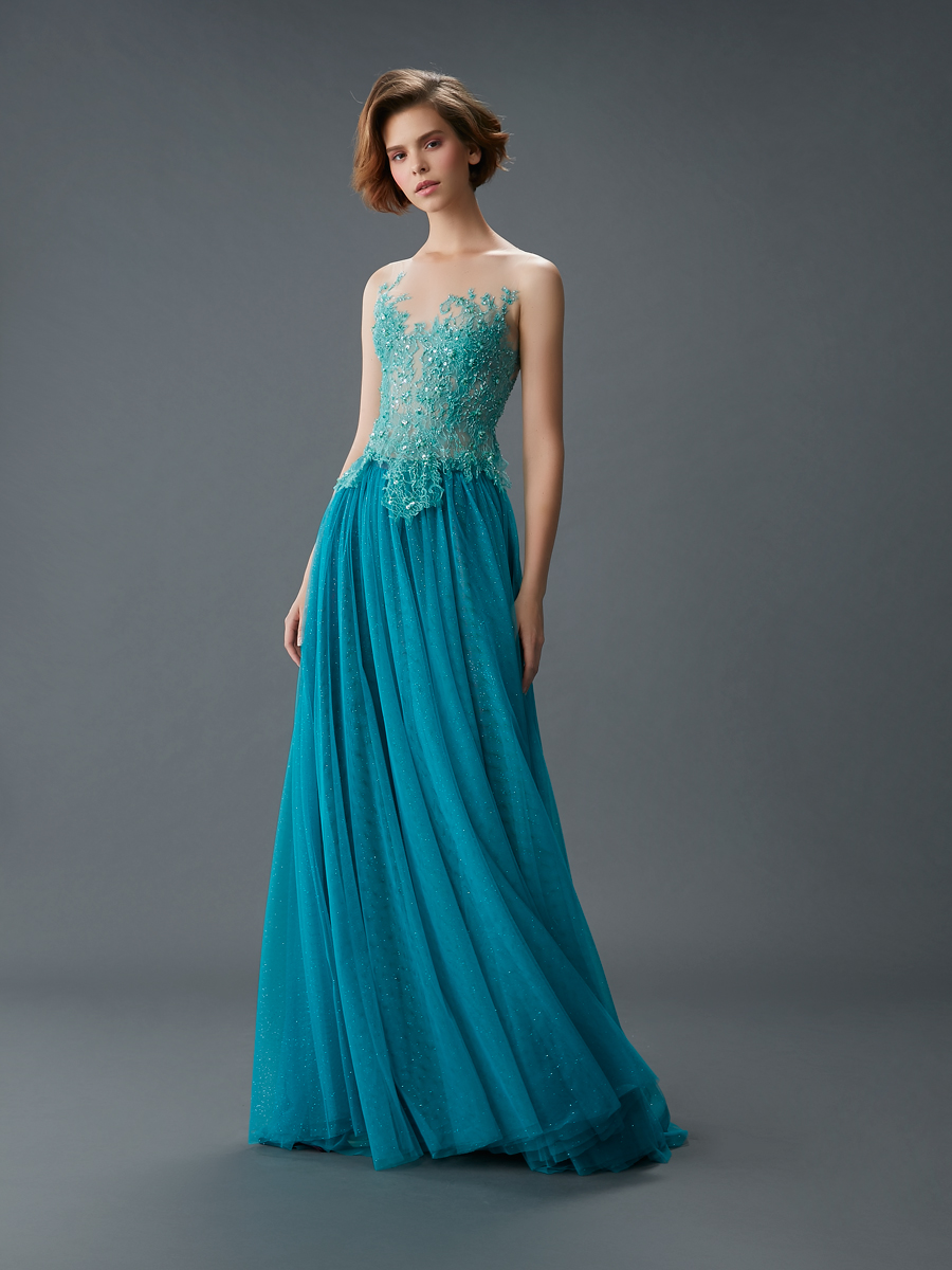 Am gown6 green aline ill tulle f
