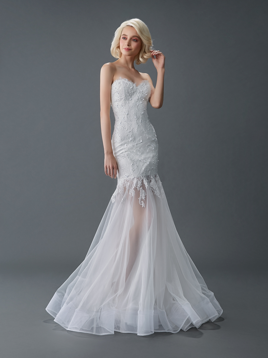 Am gown1 white trumpet sweetheart lace f