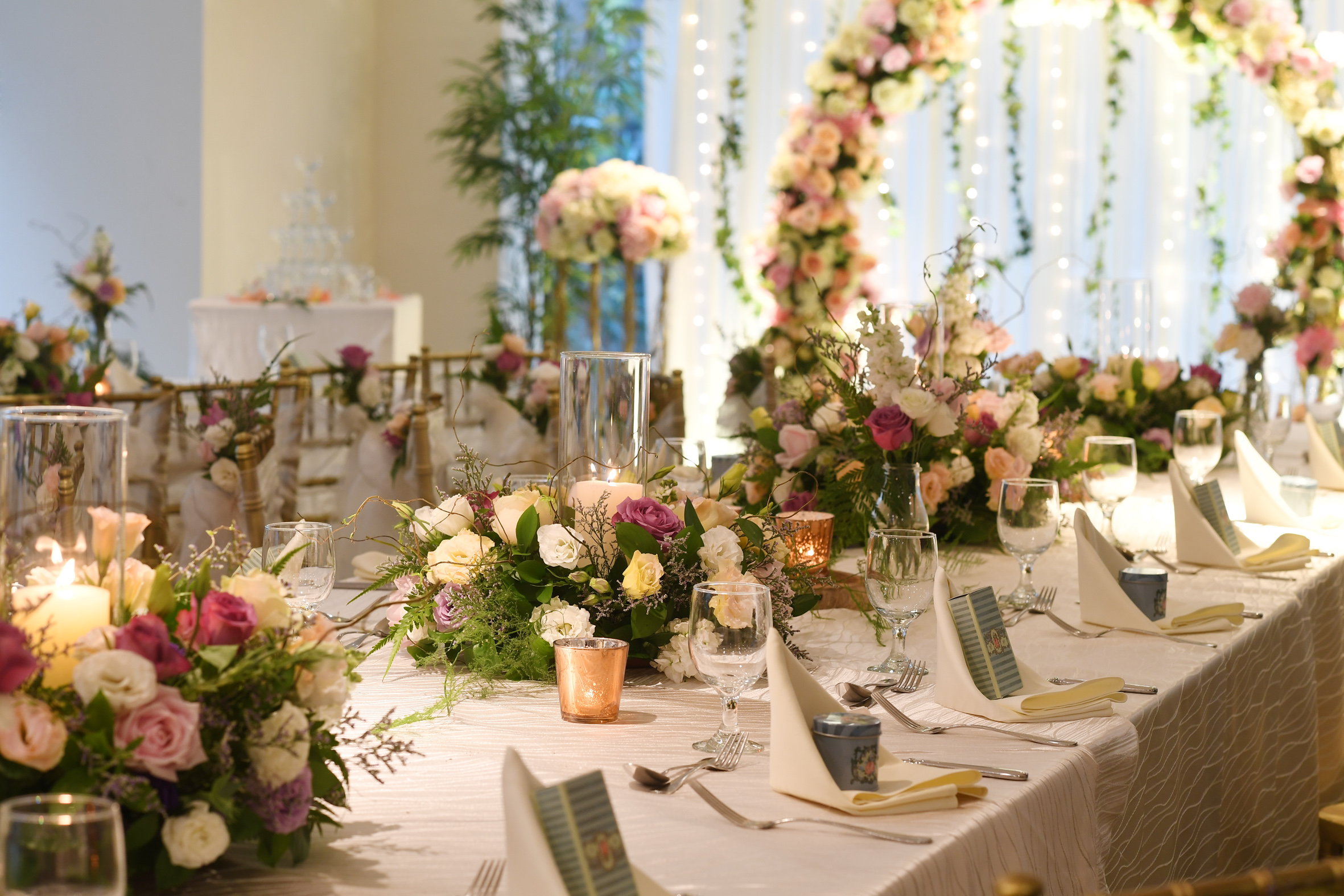 Floral long table setup  scotts suite