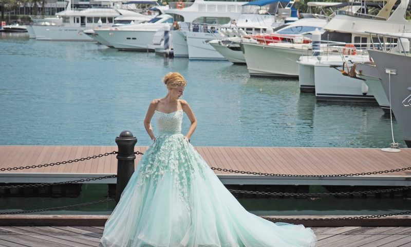03 z wedding turqoise rosette evening ballgown 1 1024x680