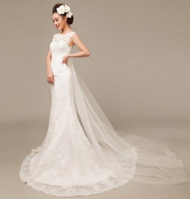A Line Full Lace Gown Heart Shape Bustier With Boat Neck Overlay Feature Long Train Attach See Picture